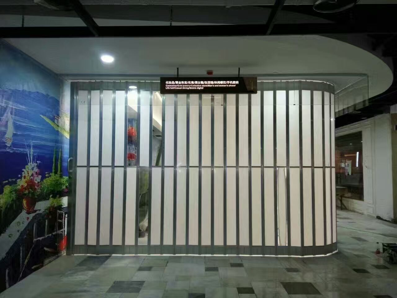 Sliding Pc Folding Door Widely Used In Stores/shopping Mall/emporium